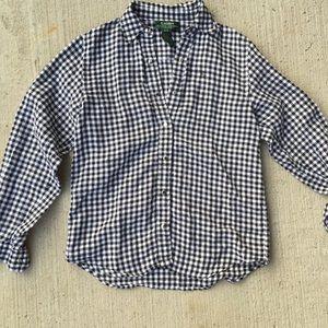 Ralph Lauren Petite Checkered Linen Button Up